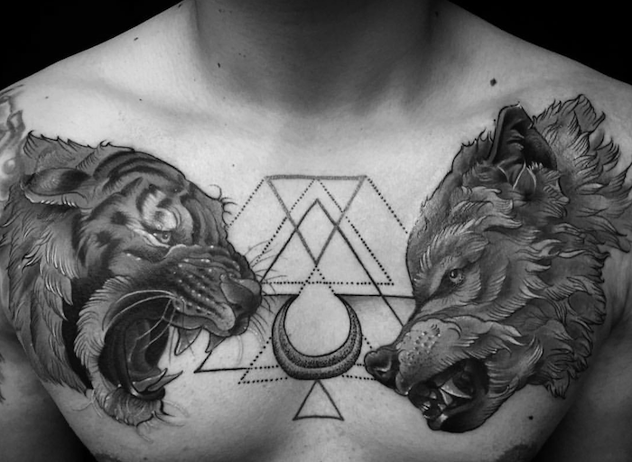 1001 mod les de tatouage loup pour femmes et hommes tattoo - Tete de tigre dessin facile ...