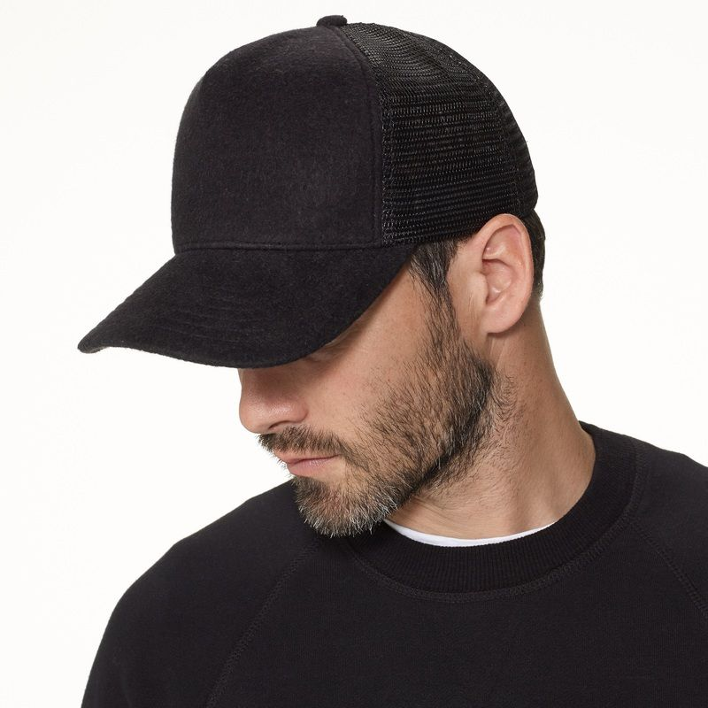 83082586 Black Double Face Knit James Perse Trucker Hat for Men | Trucker ...