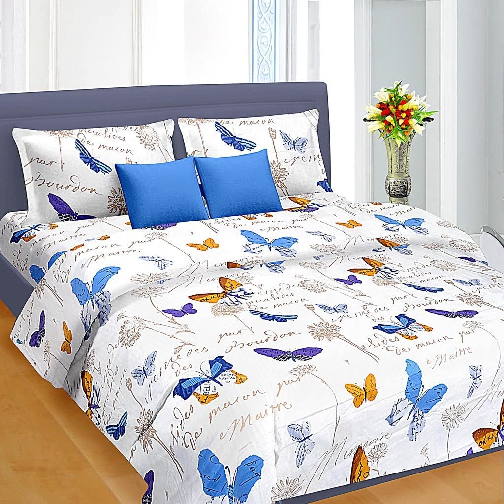 Good Blue Butterfly Pattern Double Bed Sheet U20b9699.00   King Size Double Bed  Sheets Online India