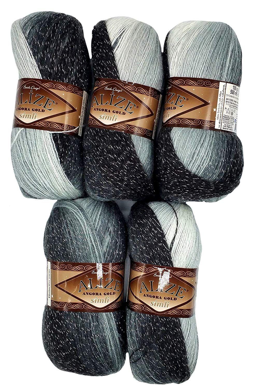 5 X 100 G Alize Glitzerwolle Farbverlauf Schwarz Grau Weiß Nr 1900