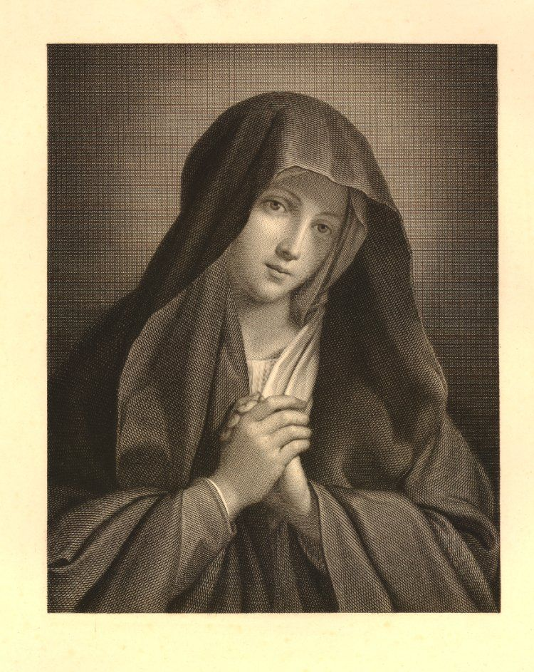 The Virgin Mary, her hands together, after Sassoferrato, a proof impression before letters Engraving