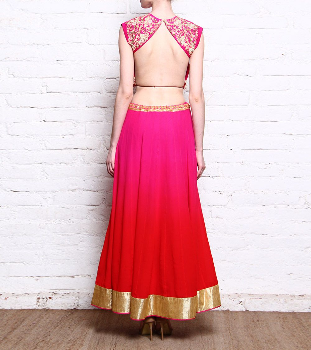 Saachi Thahryamal - Pink Dabka & Pitta Embroidered Raw Silk Crop Top ...