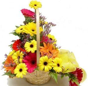 24 Mixed Gerberas Basket Flowers Online Flower Delivery Flowers Delivered