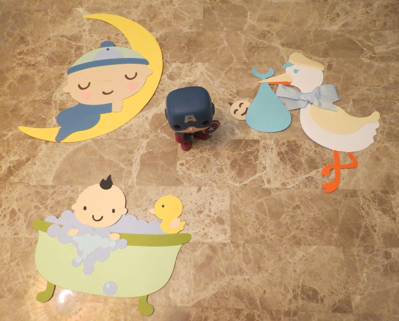 Blue Baby Boy 3 Piece set Large Baby Shower Wall Decor Nursery Decor ...
