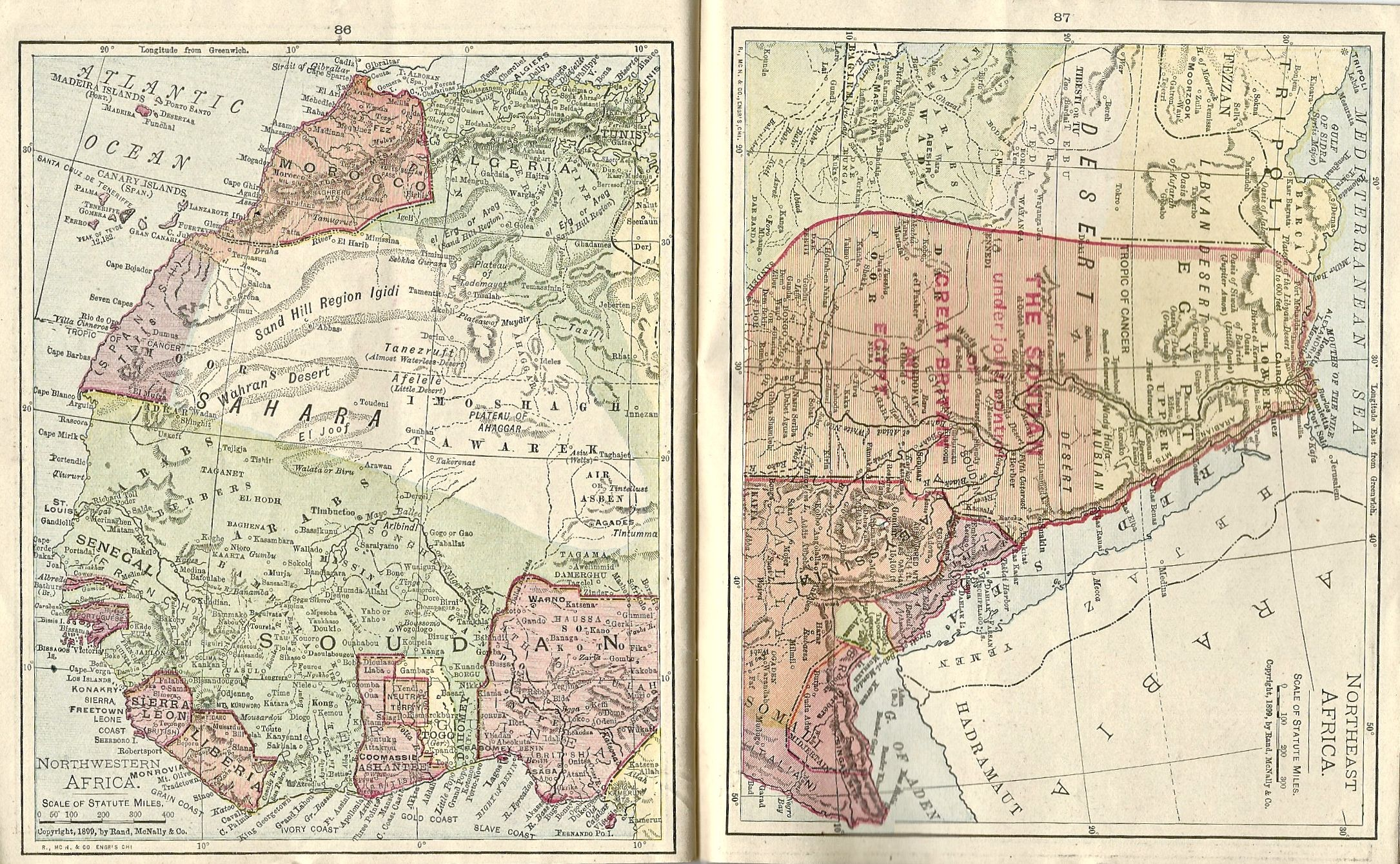 1899 Maps of Northern and Northwestern Africa from Concise Atlas of ...