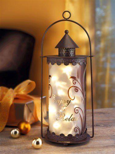 Laterne Enjoy & Relax Metall und Glas inklusive Lichterkette mit 10 LEDs