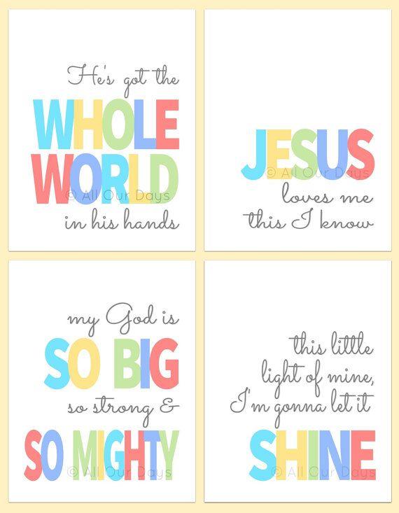 Sunday School Songs, Nursery Wall Art Christian, Kids Bible Songs ...