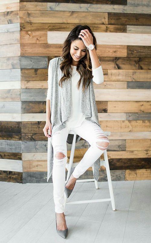outfits con los que te animar s a usar chalecos largos autumn wei e hosen hosen et wei e. Black Bedroom Furniture Sets. Home Design Ideas