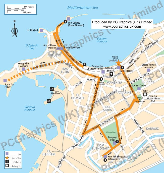 Map showing a tour around Alexandria Egypt produced by PCGraphics