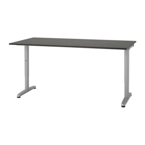 Galant Desk Black Brown T Leg Silver Color Ikea