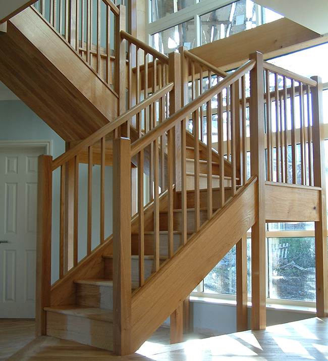 Good French Oak Staircase With Two Quarter Turns