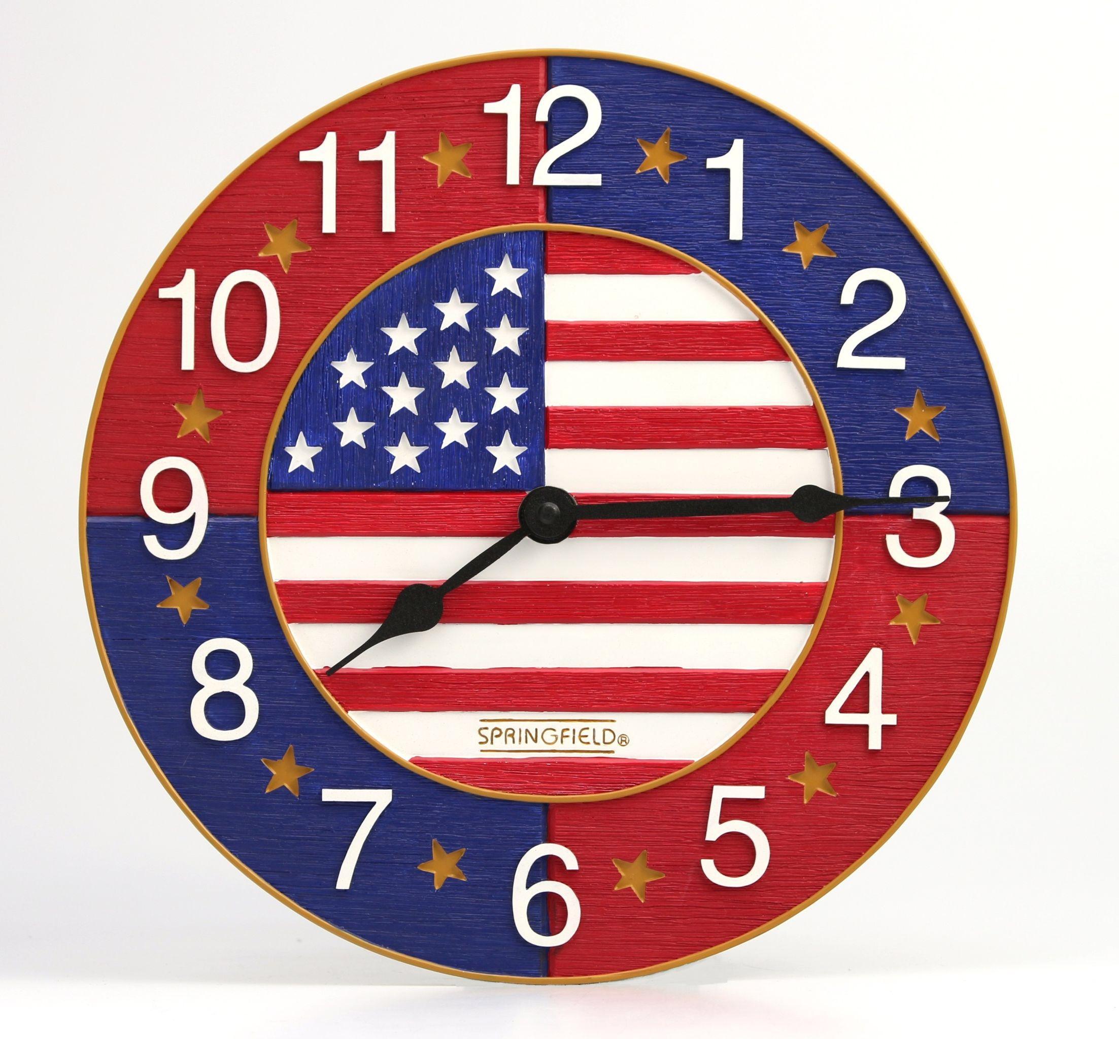 Taylor Springfield 13 American Flag Clock Clock Wall Clock American Flag