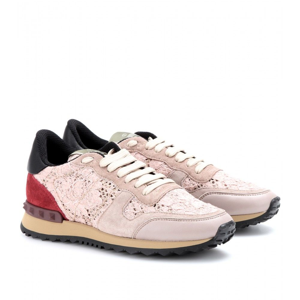 mytheresa.com - Rockstud sneakers with lace - Luxury Fashion for Women /  Designer clothing