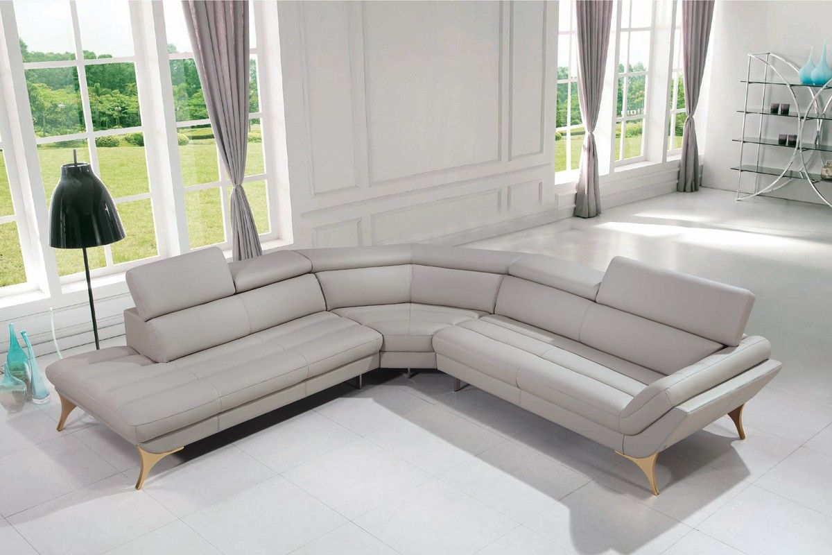 Adjustable Headrests Stainless Steel Legs Grey Leather Sectional Sofa Grey Leather Sectional Grey Sectional Sofa Leather Sectional