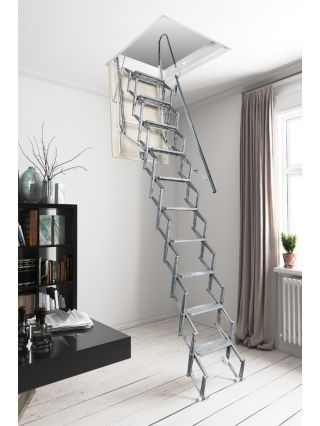Best Mobirolo Saf Aluminium Concertina Loft Ladder With Images 400 x 300