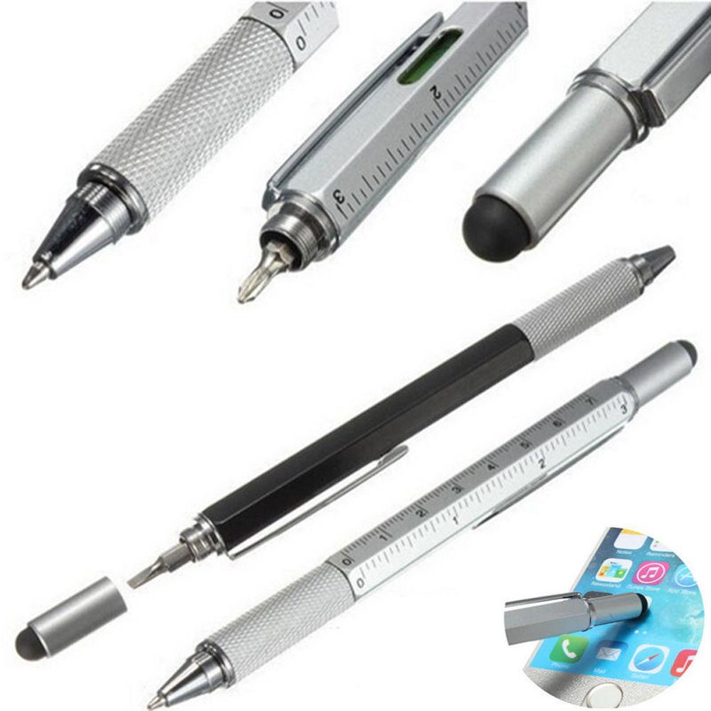 Multi FunctioScreen Stylus Pen W// Spirit Level Ruler Screwdriver Tool BY