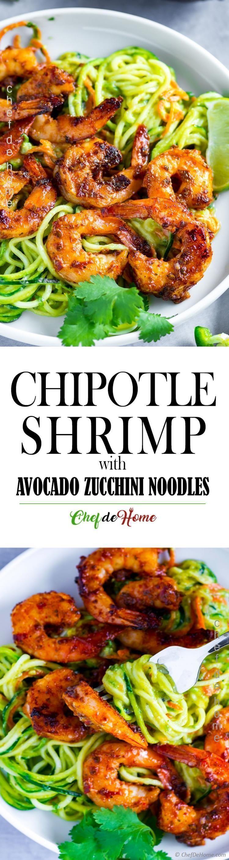 Sweet Spicy Chipotle Shrimp mit Zucchini-Nudeln in milchfreiem Avocado überzogen