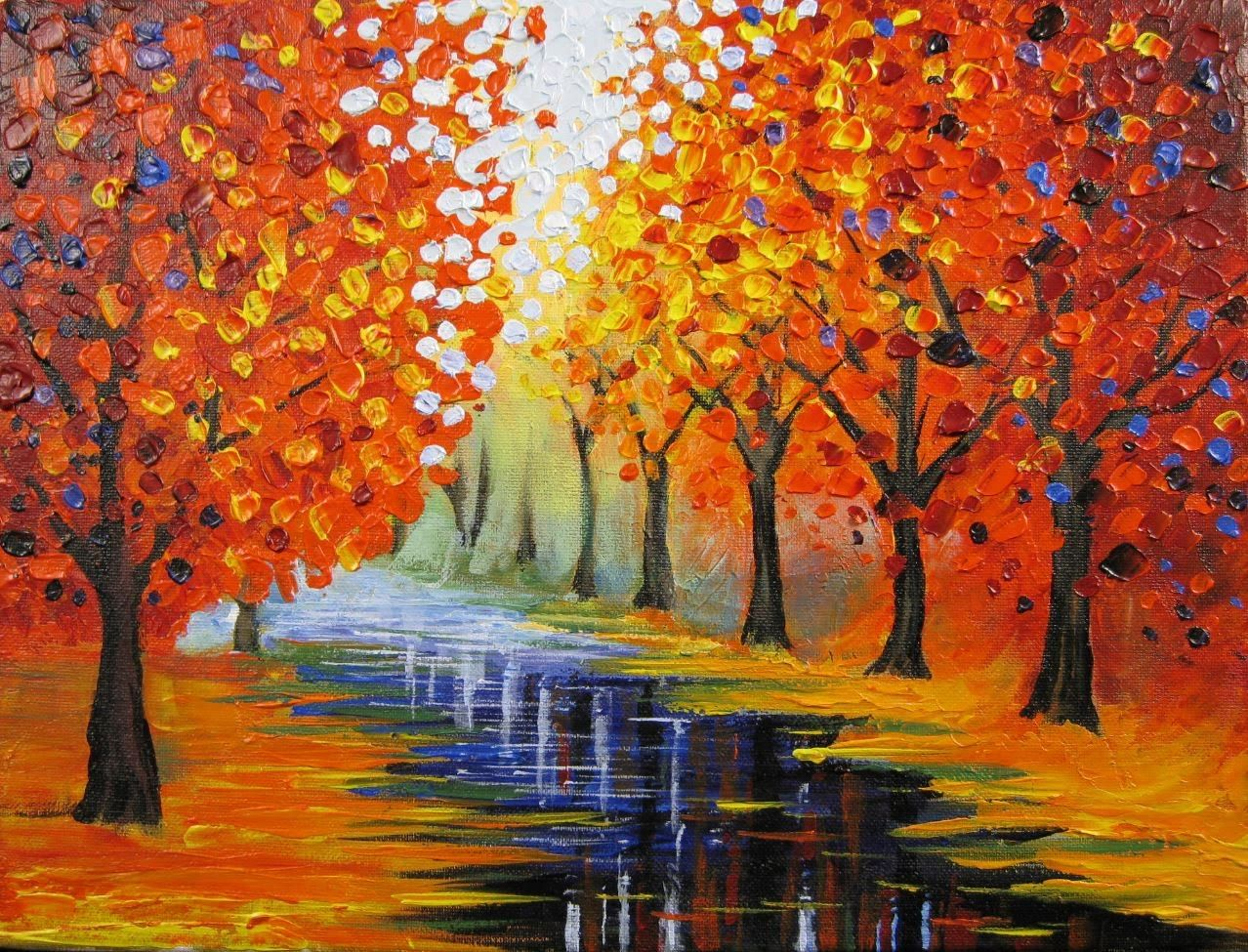 Art lesson how to paint an easy leonid afremov inspired for Fall paintings easy