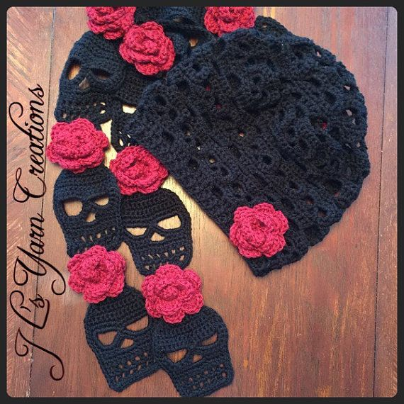 Crocheted Skull Slouchy Hat and Scarf Set | Pinterest | Cráneo de ...