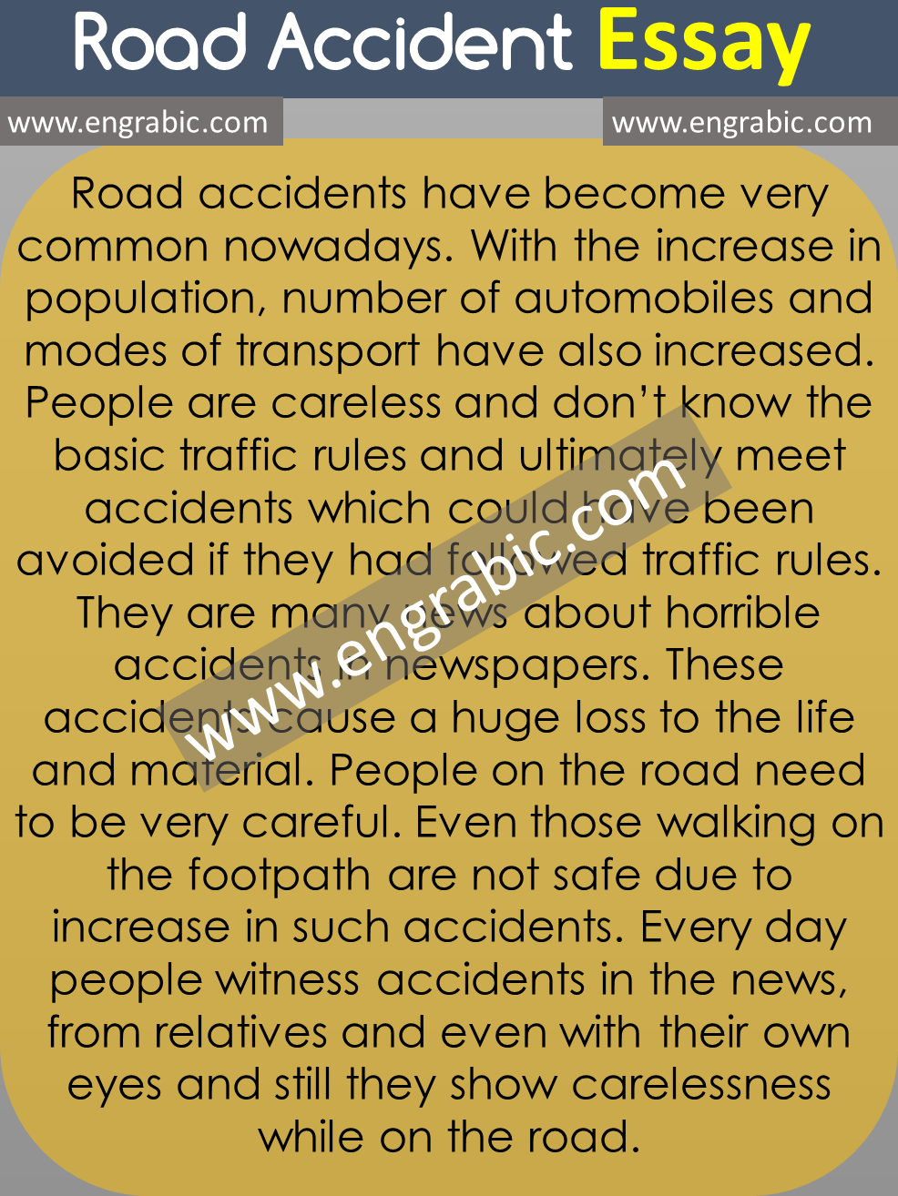 Road Accident Essay Persuasive Writing Example Paper Service The Topics Topic