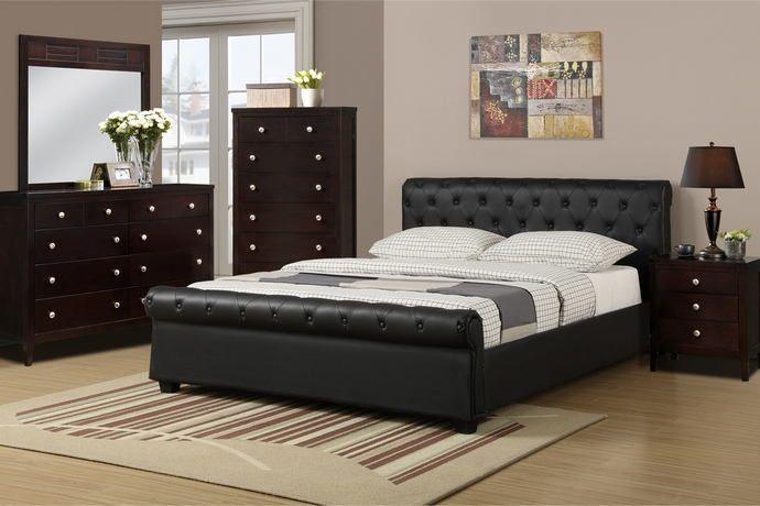 Best Poundex F9246 5 Pc Allison Black Faux Leather Tufted 640 x 480