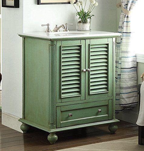 "30"" Shutter Blinds Vintage Green Keysville Bathroom Sink vanity - Model HF-087G Tennant http://www.amazon.com/dp/B002GIZZJK/ref=cm_sw_r_pi_dp_Q3agwb0XD4Y2Y"