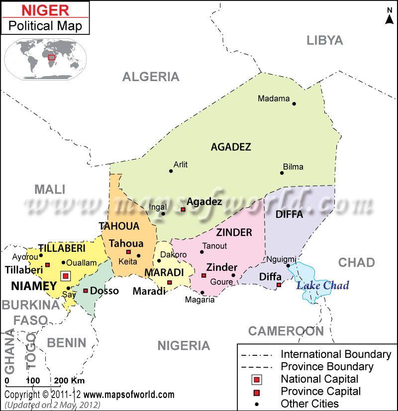 Nger Mapa Mapa de Nger Africa