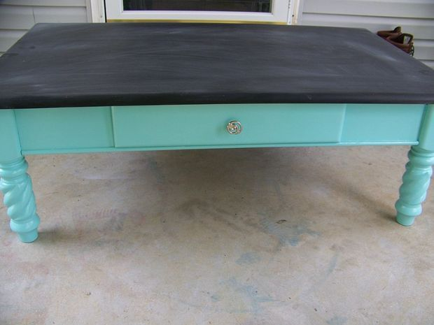 Coffee Table Transformed Into A Kids Chalkboard Table #furniture #upcycle  #children