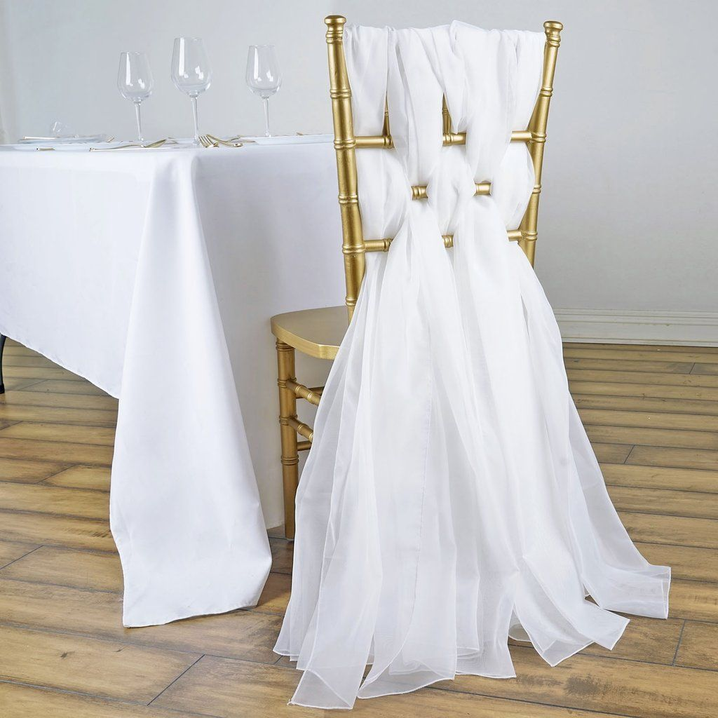 5 Pack 22 X 78 White Diy Premium Designer Chiffon Chair Sashes In 2020 Wedding Chair Sashes Chair Sashes Rose Gold Wedding Decor