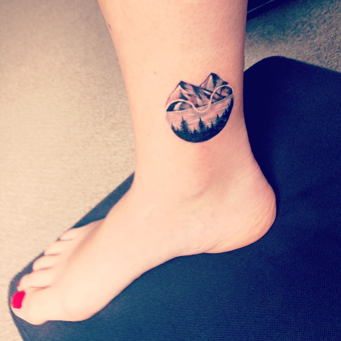 Mine ️ Mountain tattoo. Inner ankle tattoo. Ankle tattoo