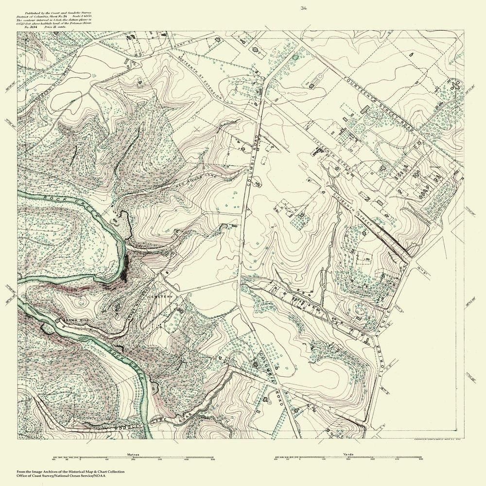 Topographic Map Washington Dc.18 X 24 Inch 1888 Us Old Nautical Map Drawing Chart Of Topographic