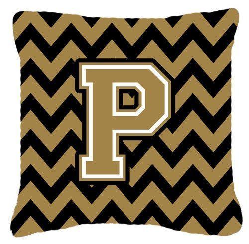 Letter P Chevron Black and Gold Fabric Decorative Pillow CJ1050-PPW1414