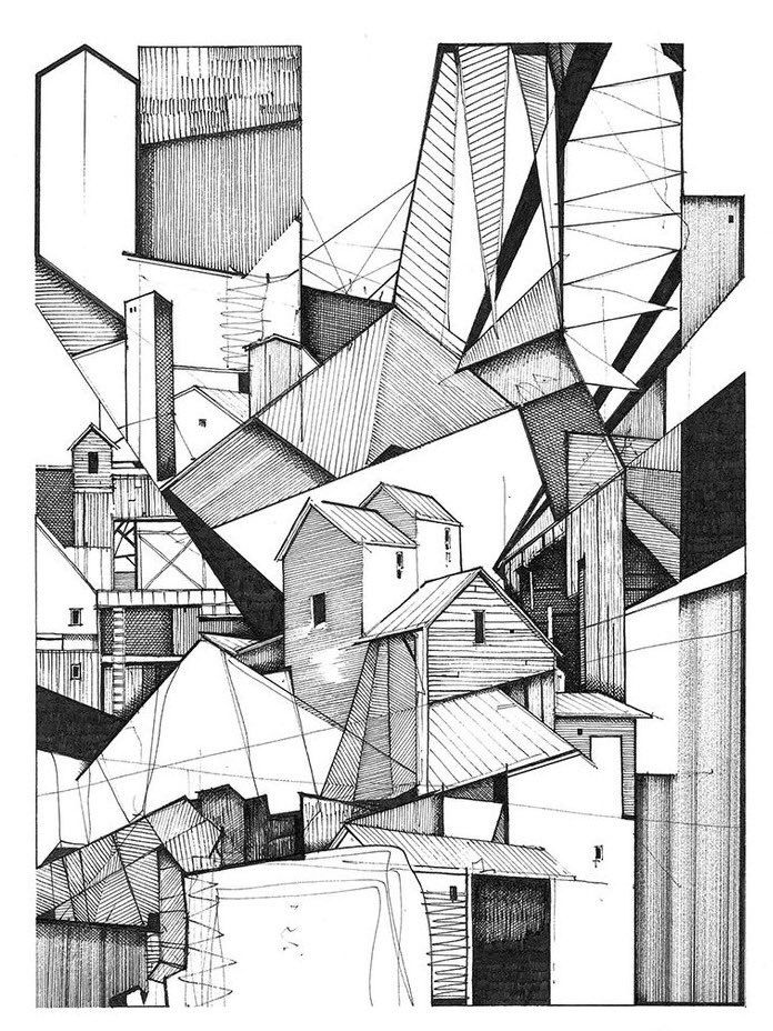 Abstract Architecture Sketch Supersavvysupplies Perspective Dailydrawing Drawing