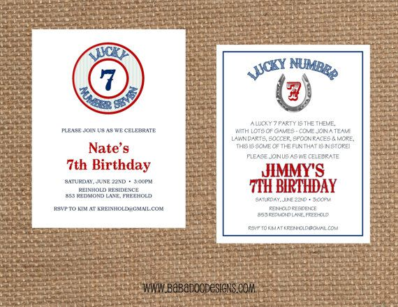 LUCKY NUMBER 7 Invitation multiple styles & by BabadooStationery, $14.00