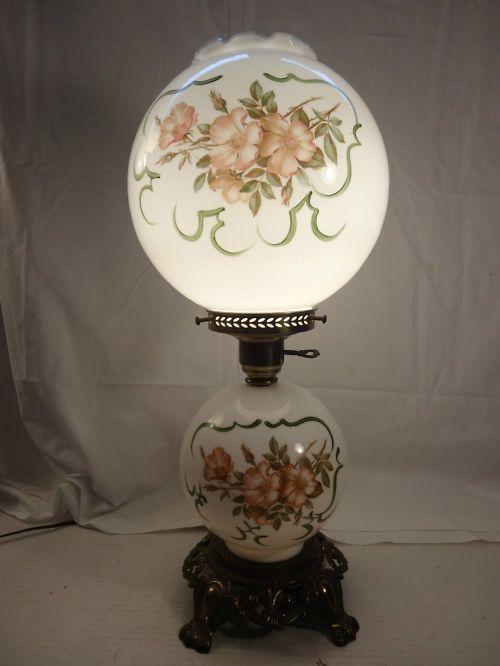 Antique Lamps Rose Print Globe