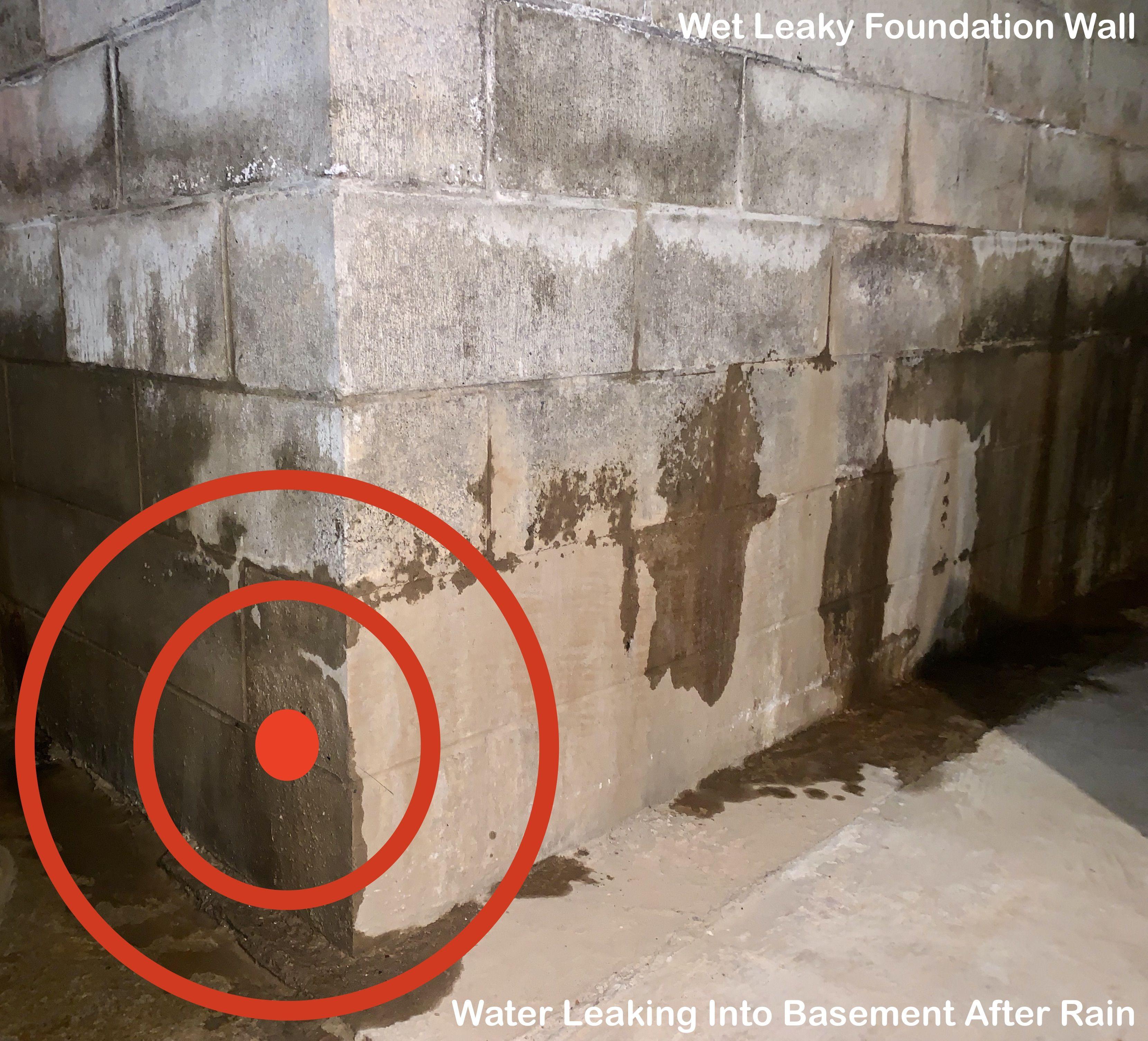 Basement Foundation Walls Leaking Water Onto Floor After Rain Wet Basement Waterproofing Problem In 2020 Waterproofing Basement Wet Basement Leaking Basement