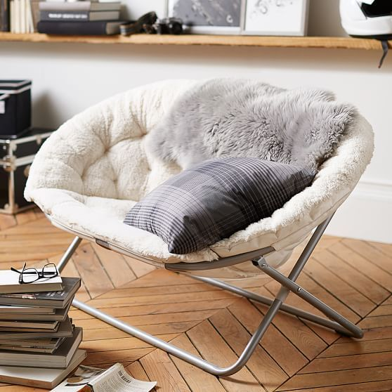 Good Ivory Sherpa Double Hang A Round Chair | PBteen