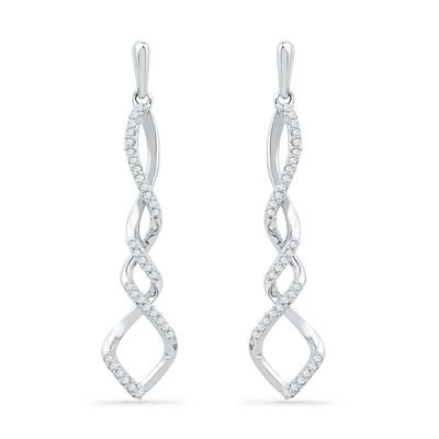 6629072bb2d Zales  1 5 CT. T.W. Diamond Cascading Infinity Drop Earrings in Sterling  Silver