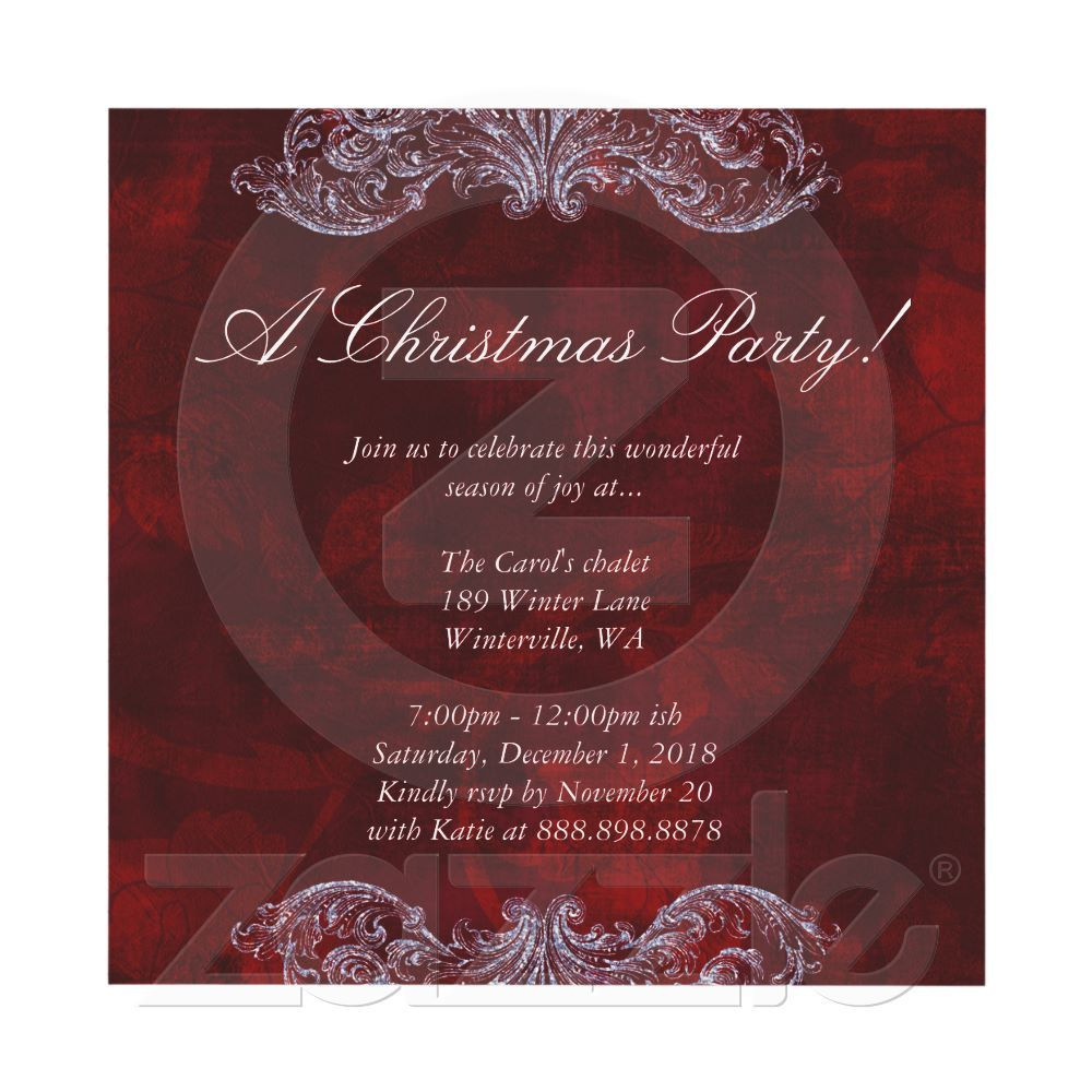 Christmas Wedding Invitation Red Vintage Rose | Christmas wedding ...