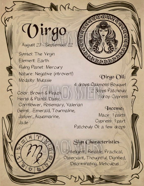 Virgo Zodiac Sign Book Of Shadow Printable Pdf Page Wicca
