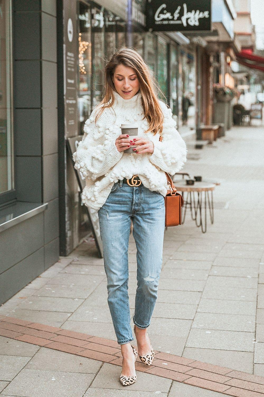 e8306e271 Knit Your Love :: White Bobble Pullover & My New Gucci Belt | Style ...