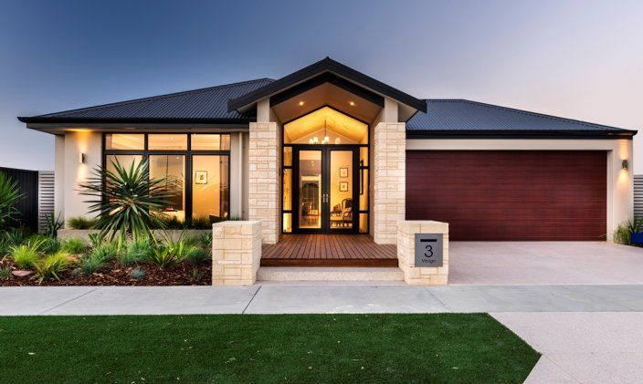 House Frontages Single Story Stone Pillars Australia