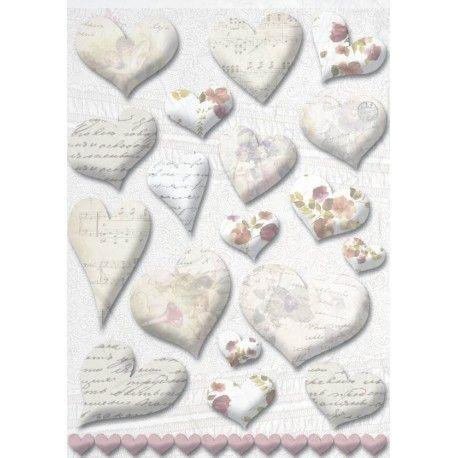 Corazones manuscritos en papel de arroz para #decoupage. Distribuido por www.artesaniasmontejo.com #sanvalentin #heart