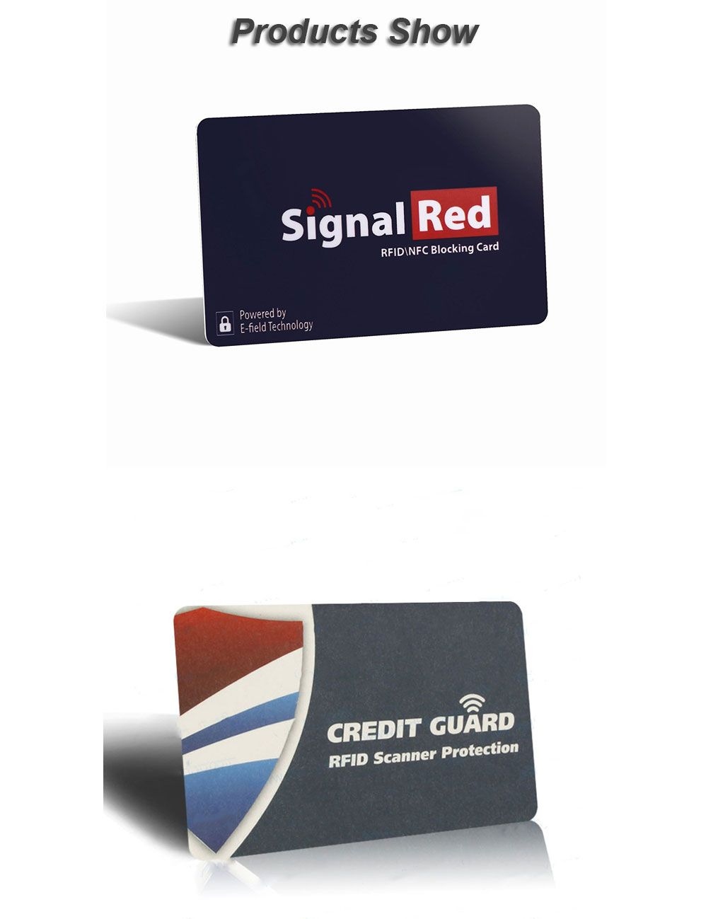 Printed rfid blocking card for credit card protecting size