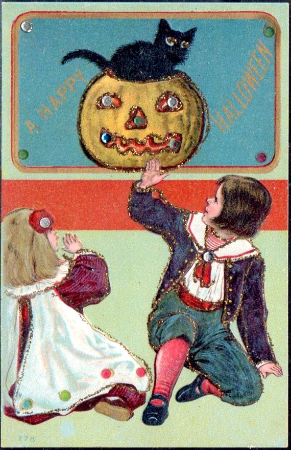 Vintage HALLOWEEN POSTCARD: Embossed and Embellished with Children, Black Cat, Jack-o-Lantern
