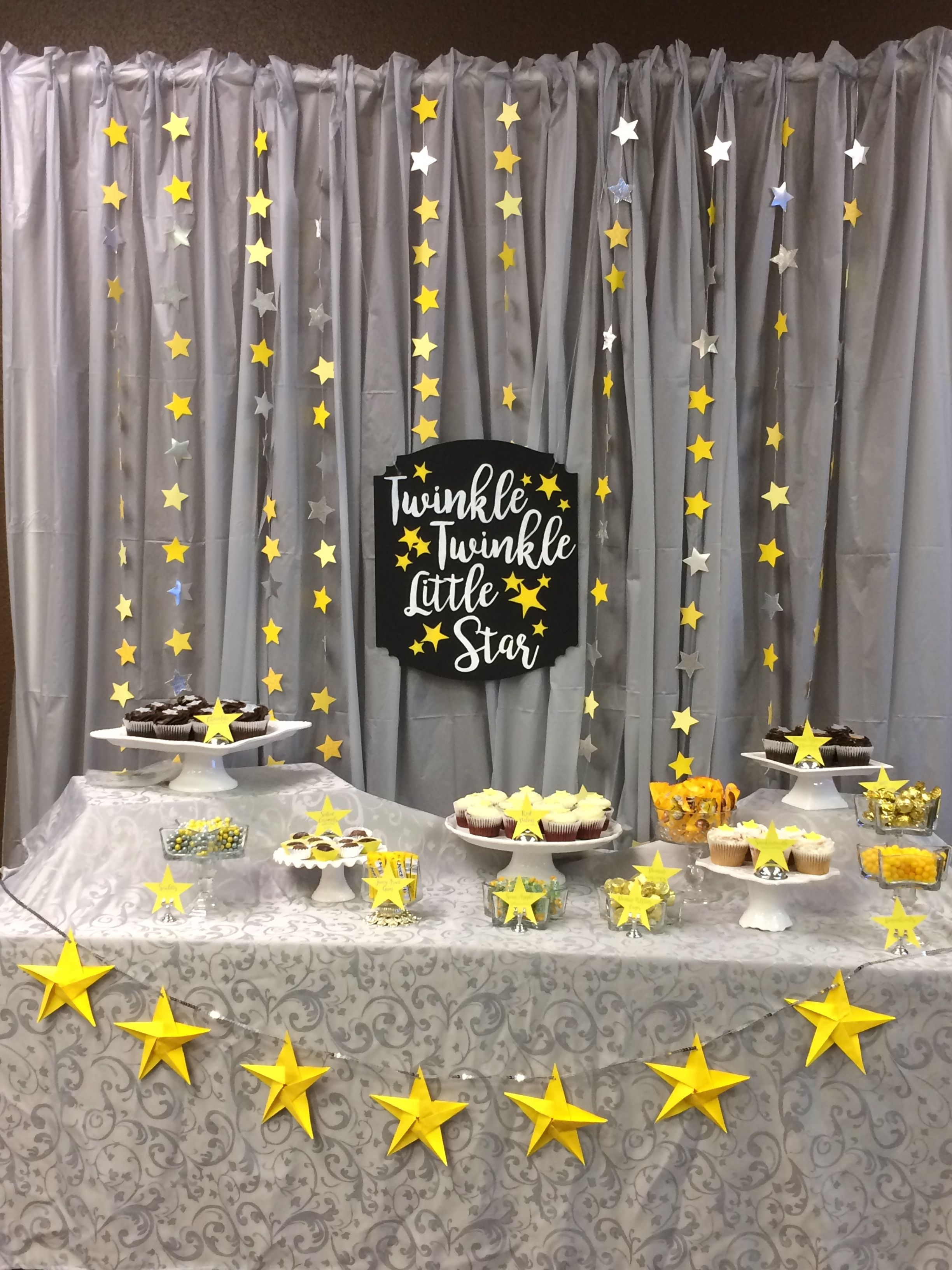 Twinkle Twinkle Little Star yellow and gray backdrop cupcake and candy table