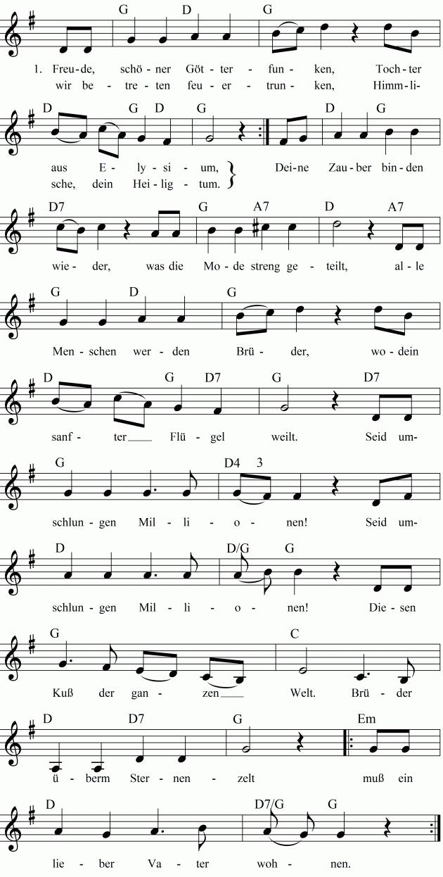 Lied Freude Schoner Gotterfunken Musiknoten Freude Schoner Gotterfunken Lied
