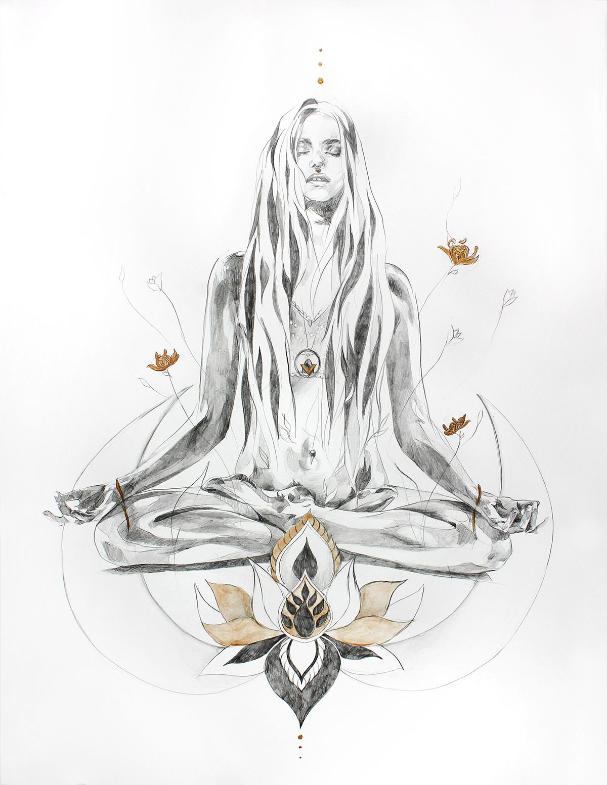 Here Comes The Sun A Yoga And Meditation Pencil Drawing Illustration In Lotus Pose With Gold By Hannah Adamaszek Online Shop Gallery