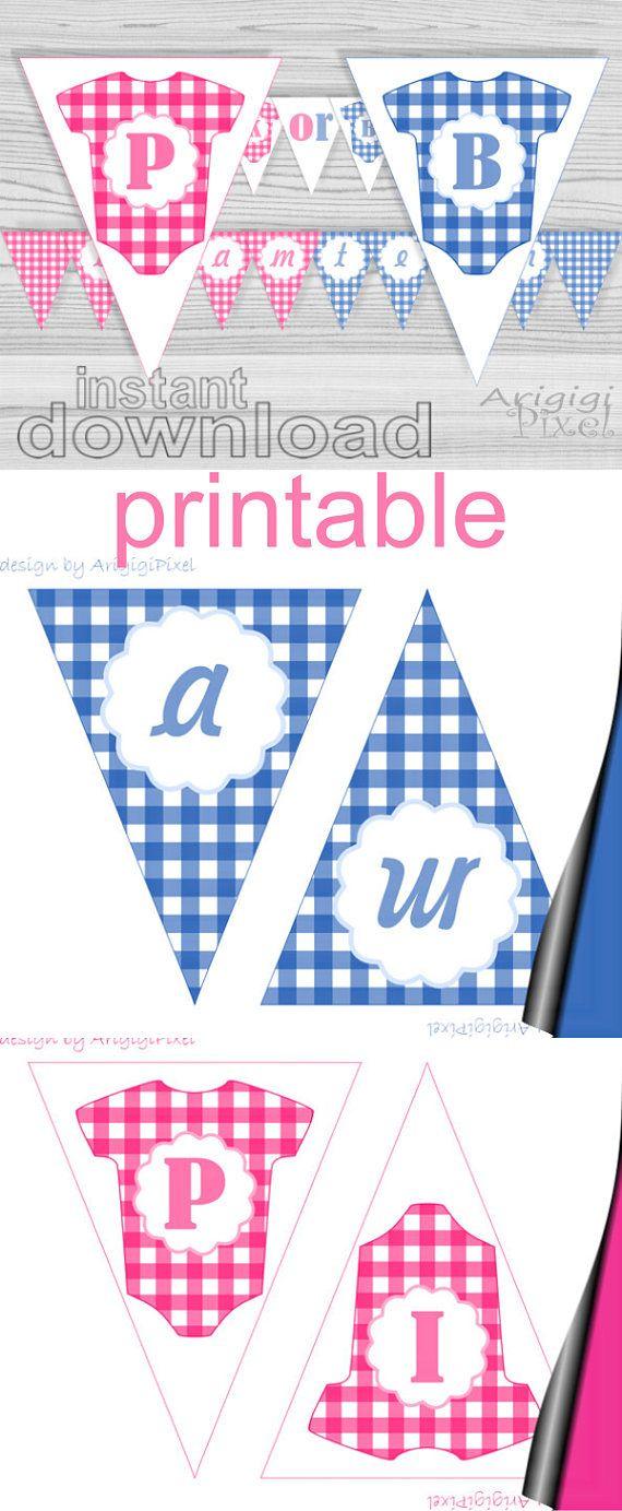 Make Your Self Pink Or Blue Babyshower Banner This Printable Gender Reveal Banner Say Gender Reveal Banner Baby Shower Banner Shower Banners
