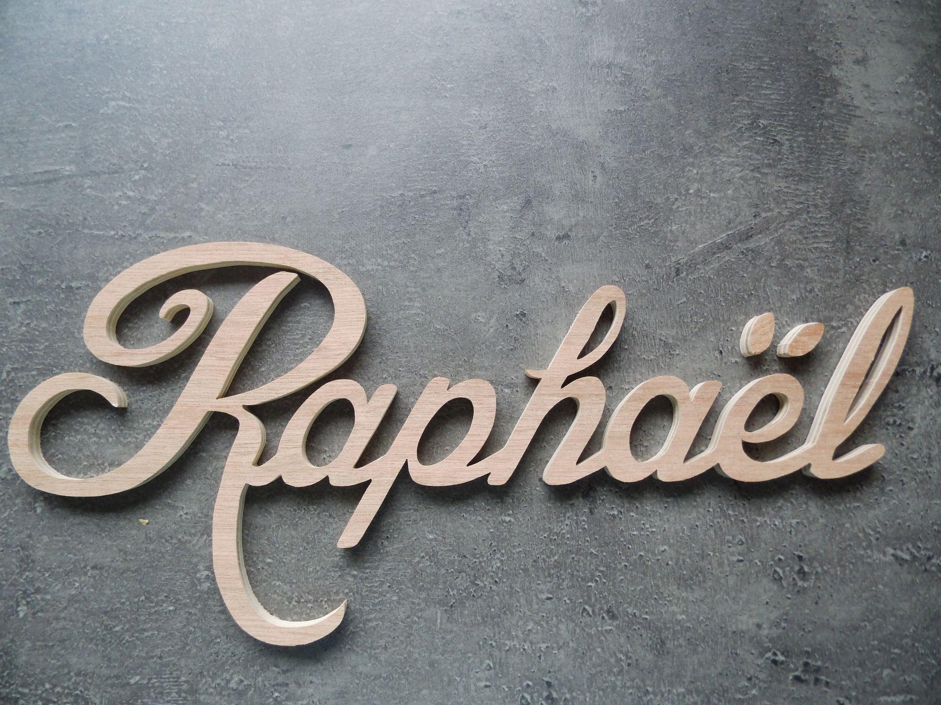 Plaque de porte lettres en bois pr nom d coup pour - Porte prenom ...